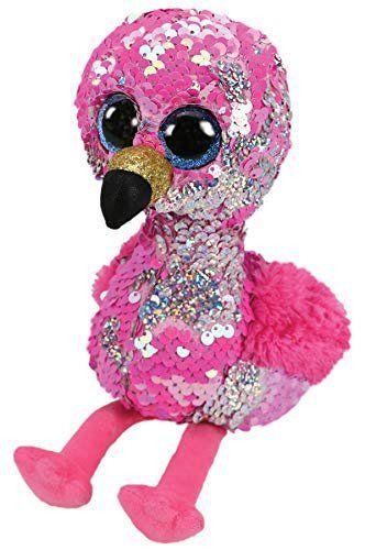 Pelúcia Beanie Boos Paetês (Flippables): Flamingo (Pinky) - DTC