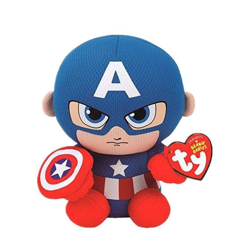 Pelúcia Capitão América (Captain America): Marvel (Ty Beanies) - DTC