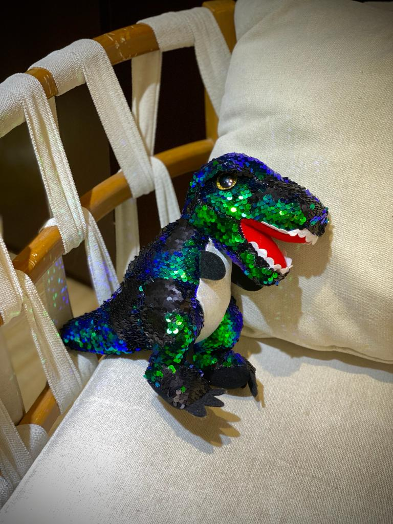 Pelúcia Dinossauro Lantejoulas:  (Verde) - 25cm