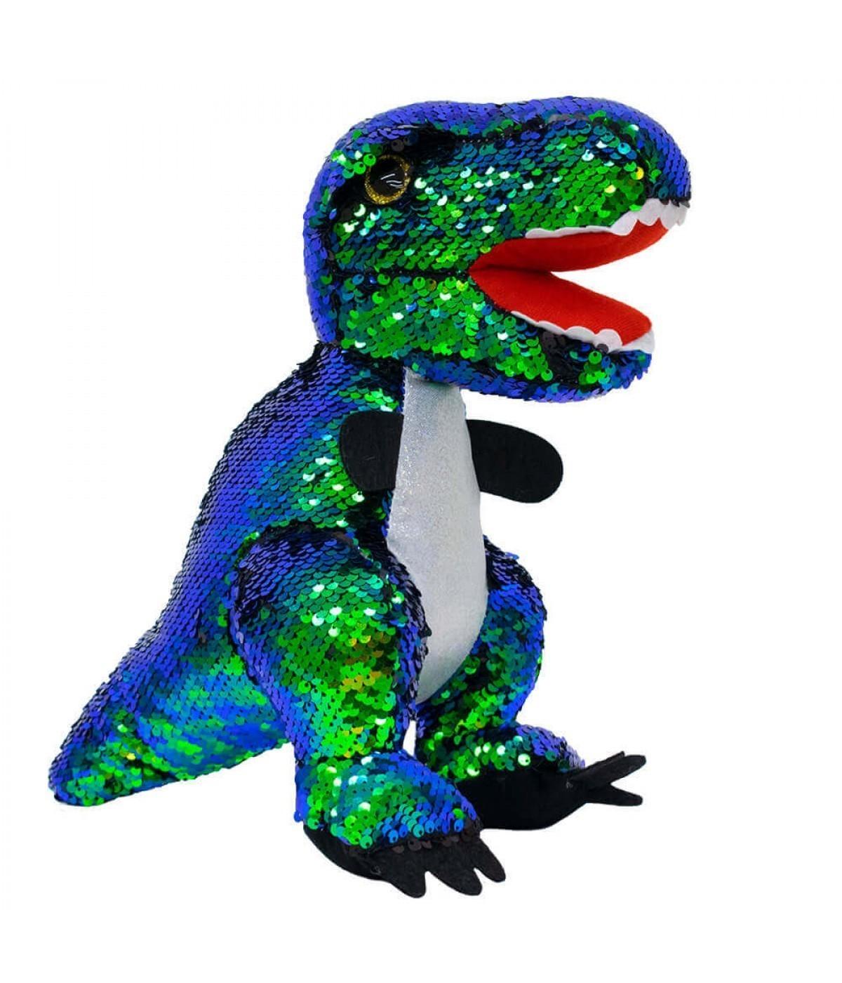 Pelúcia Dinossauro Lantejoulas:  (Verde) - 30cm