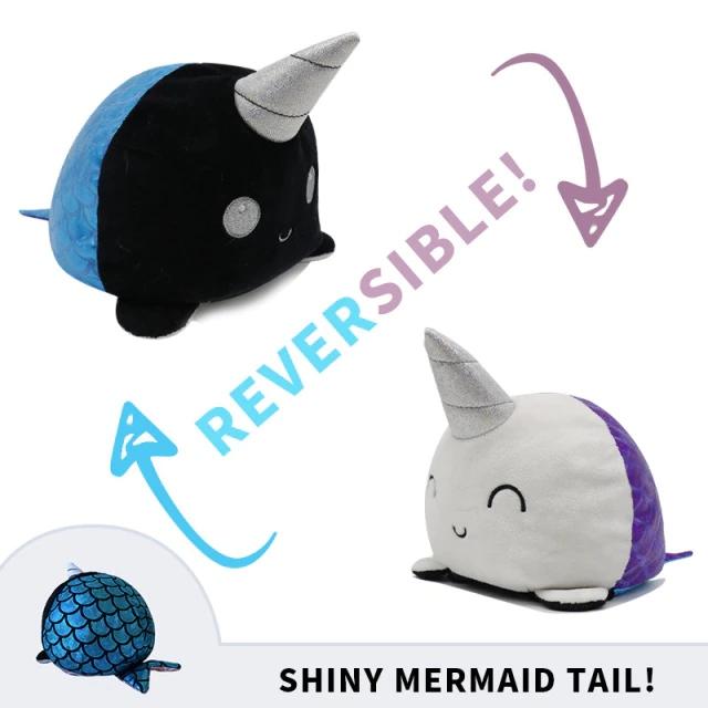 Pelúcia do Humor Polvo Baleia Unicórnio Flip Reversível (Preto e Azul) e (Branco e Roxo) Kawaii Brinquedo Tik Tok 20cm - EV