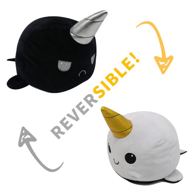 Pelúcia do Humor Polvo Baleia Unicórnio Narval Flip Reversível Preto e Branco Kawaii Brinquedo Tik Tok 20cm - EV