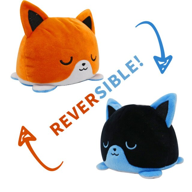 Pelúcia do Humor Polvo Gato Flip Reversível Laranja e Preto Kawaii Brinquedo Tik Tok 20cm - EV