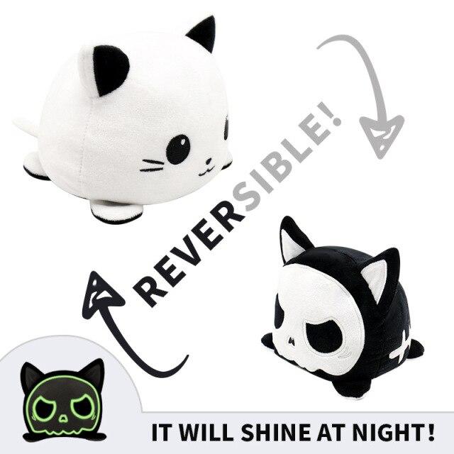 Pelúcia do Humor Polvo Gato Flip Reversível Preto e Branco Kawaii Brinquedo Tik Tok 20cm - EV