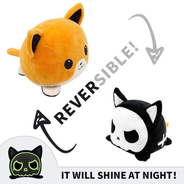 Pelúcia do Humor Polvo Gato Flip Reversível Preto e Laranja Kawaii Brinquedo Tik Tok 20cm - EV