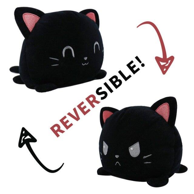 Pelúcia do Humor Polvo Gato Flip Reversível Preto Kawaii Brinquedo Tik Tok 20cm - EV