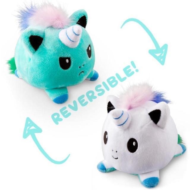 Pelúcia do Humor Polvo Gato Unicórnio Flip Reversível Azul e Branco Kawaii Brinquedo Tik Tok 20cm - EV