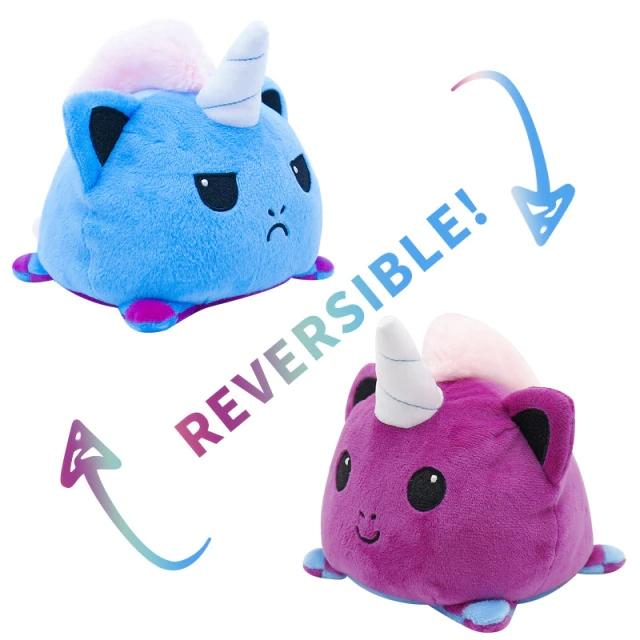 Pelúcia do Humor Polvo Gato Unicórnio Flip Reversível Azul e Roxo Kawaii Brinquedo Tik Tok 20cm - EV