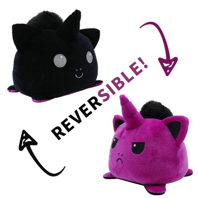 Pelúcia do Humor Polvo Gato Unicórnio Flip Reversível Preto e Roxo Kawaii Brinquedo Tik Tok 20cm - EV