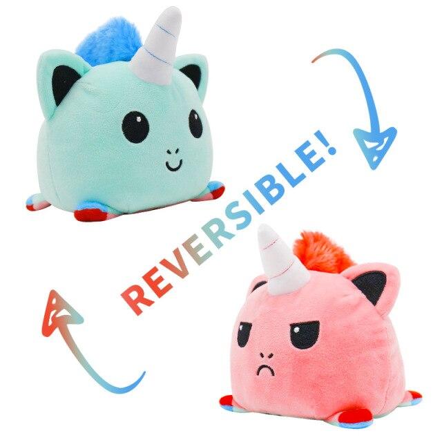 Pelúcia do Humor Polvo Gato Unicórnio Flip Reversível Verde e Rosa Kawaii Brinquedo Tik Tok 20cm