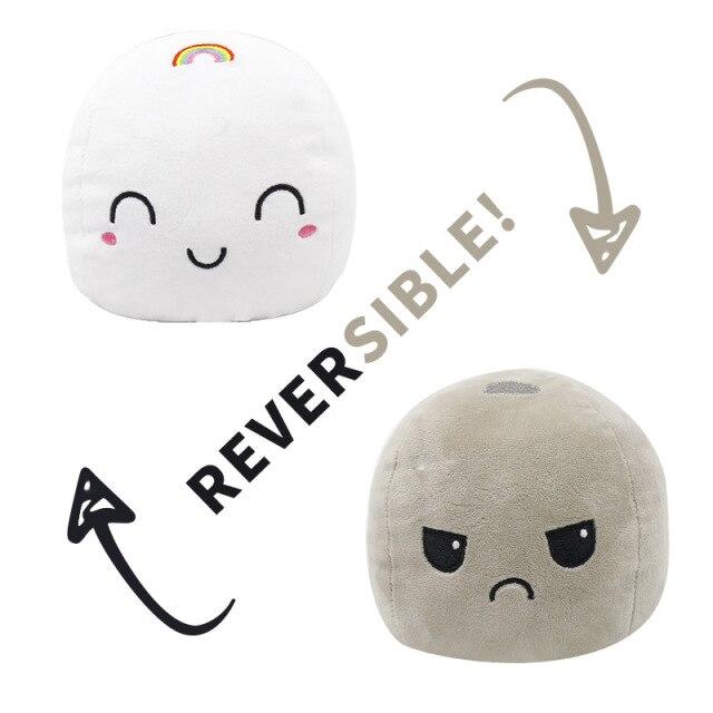 Pelúcia do Humor Polvo Marshmallow Flip Reversível (Branco) e (Cinza) Kawaii Brinquedo Tik Tok 20cm - EV
