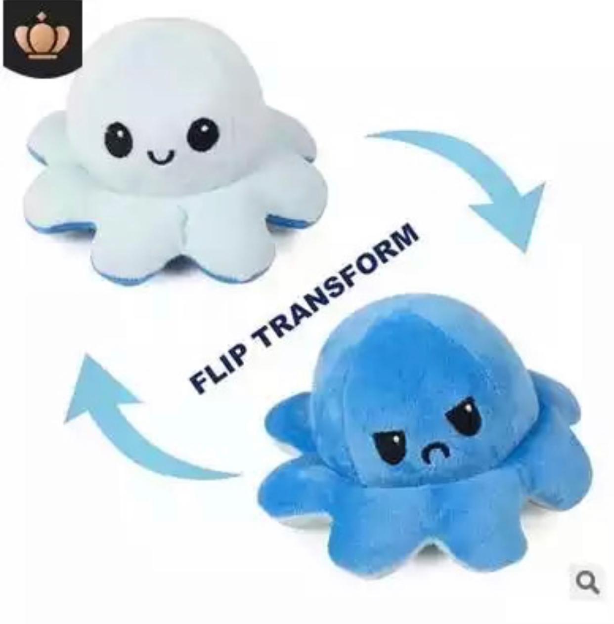 Pelucia Do Humor Polvo Flip Reversivel Branco e Azul: Kawaii Brinquedo TikTok 20cm - EV