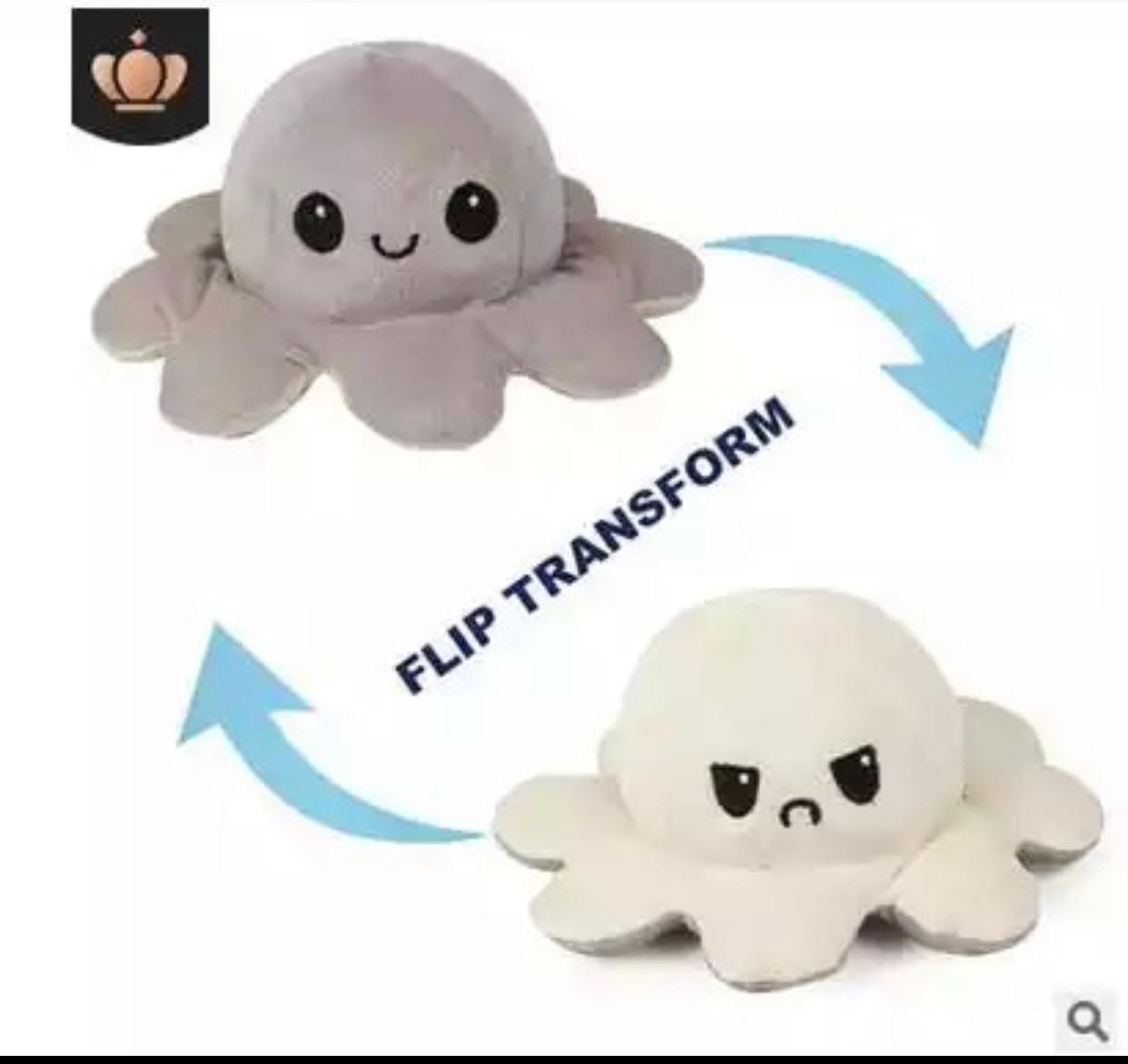 Pelucia Do Humor Polvo Flip Reversivel Cinza e Branco: Kawaii Brinquedo Tik Tok 20cm - EV
