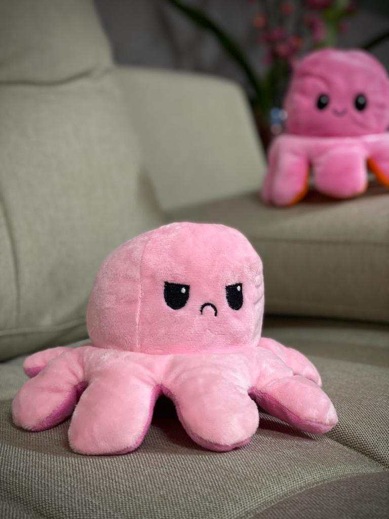 Pelucia Do Humor Polvo Flip Reversivel Rosa e Pink: Kawaii Brinquedo Tik Tok 20cm
