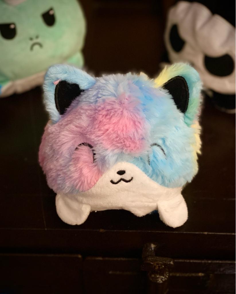 Pelúcia do Humor Polvo Gato Flip Reversível Colorido Kawaii Brinquedo Tik Tok 20cm - EVALI