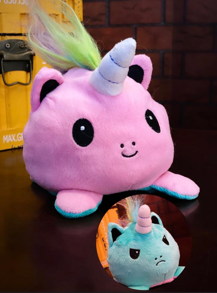Pelúcia do Humor Polvo Unicornio Flip Reversível Rosa e Azul Kawaii Brinquedo Tik Tok 20cm - EV
