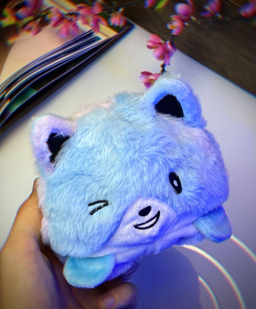 Pelúcia do Humor Polvo Urso Flip Reversível Azul Kawaii Brinquedo Tik Tok 20cm