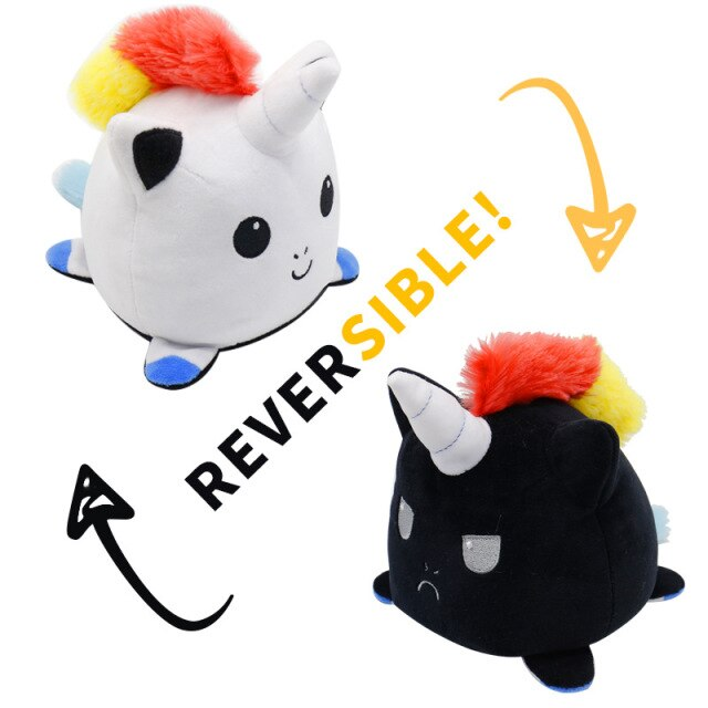 Pelúcia do Humor Polvo Unicórnio Gato Rock Flip Reversível Branco e Preto Kawaii Brinquedo Tik Tok 20cm - EV