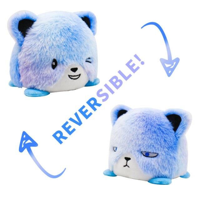Pelúcia do Humor Urso Flip Reversível Azul Kawaii Brinquedo Tik Tok 20cm - EV