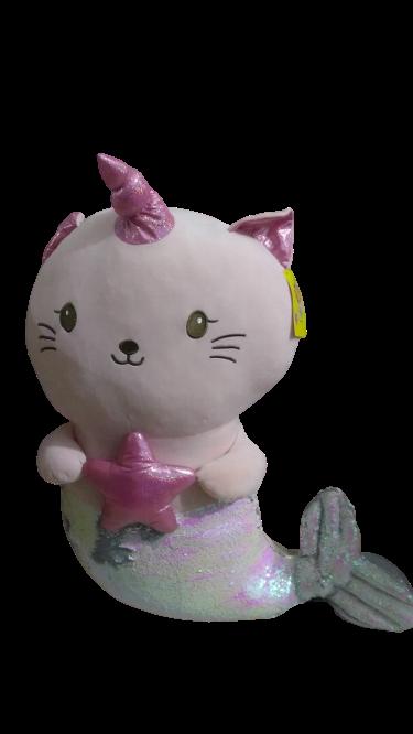 Pelúcia Gata Sereia (Rosa) (80cm) (Grande)