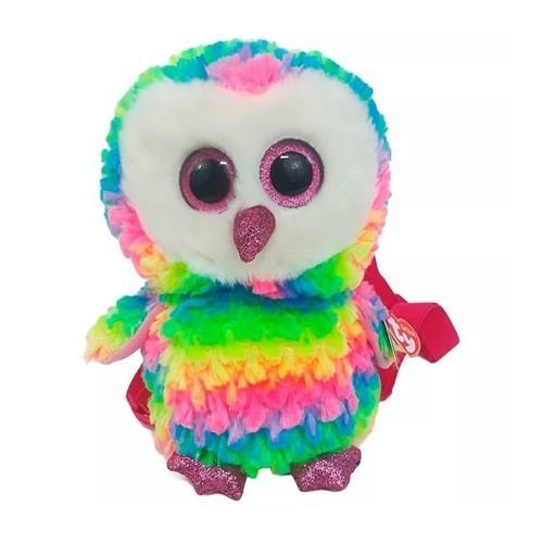 Pelúcia Mochila: Ty Fashion Coruja Owen Colorida: Arco iris (Rainbow) - DTC