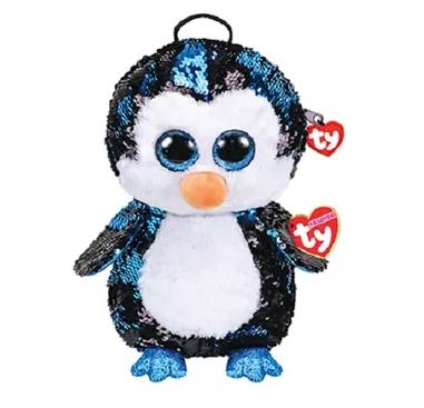 Pelúcia Mochila Waddles (Pinguim) Paetê: Beanie Boos - DTC