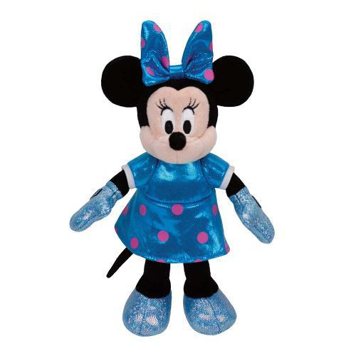 Pelúcia Pequena Minnie Mouse: Vestido Azul Beanie Babies (20cm) - DTC