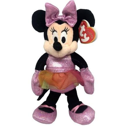 Pelúcia Pequena Minnie Mouse: Vestido Bailarina Beanie Babies (20cm) - DTC