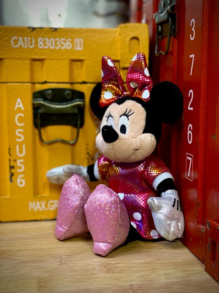 Pelúcia Pequena Minnie Mouse: Vestido Rosa Beanie Babies 15cm - DTC