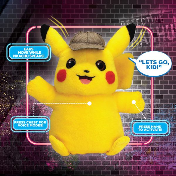 Pelúcia Pikachu: Pokémon Detetive Pikachu (Som e Movimento) - Wicked Cool Toys
