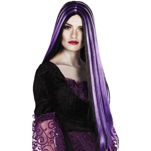 Peruca Longa Mortícia Addams - Acessório de Fantasia