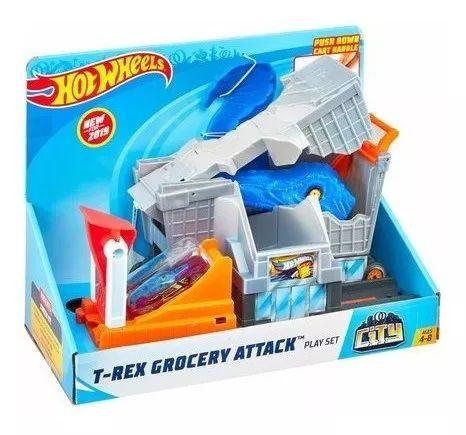 Pista Hot Wheels City: Ataque do T-Rex no Mercado - Mattel
