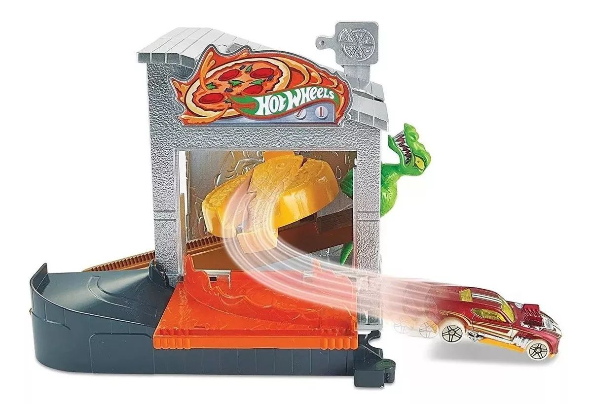 Pista Hot Wheels City Conjunto Básico: Ataque Dino na Pizzaria - Mattel