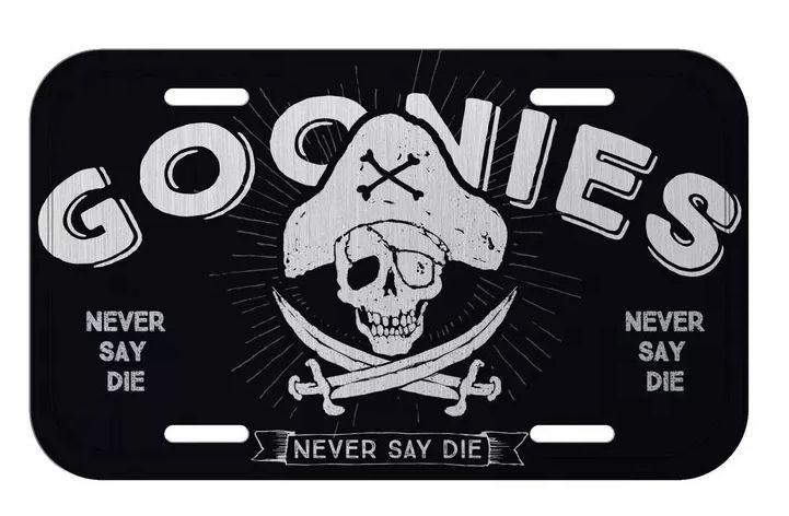Placa De Carro Decorativa Goonies Caveira (Never Say Die) - Urban