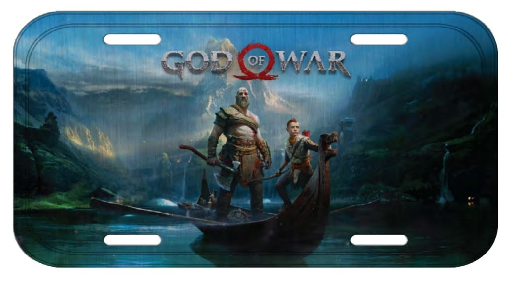 Placa De Carro Decorativa  Kratos & Atreus: God of War