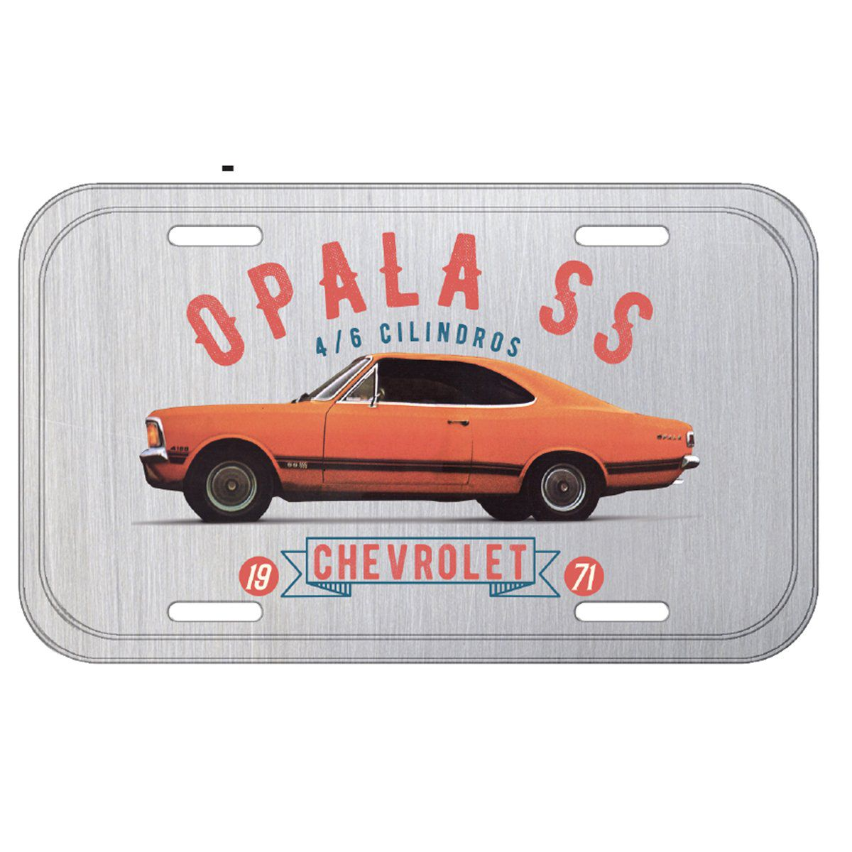 Placa De Carro Decorativa Opala 1971 SS (Laranja/Cinza): GM