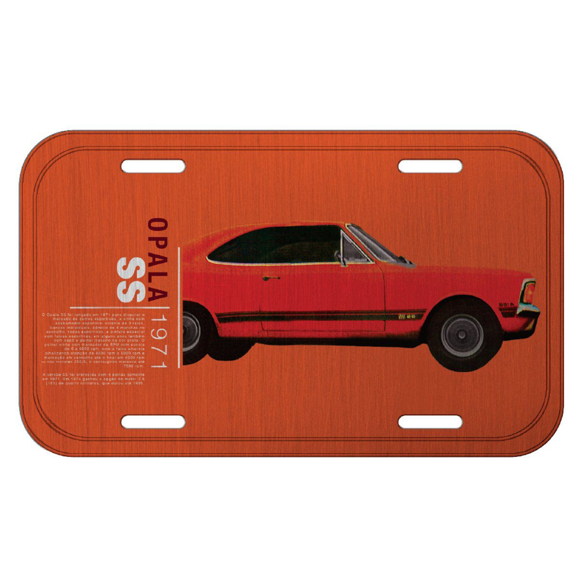 Placa De Carro Decorativa Opala 1971 SS (Laranja): GM