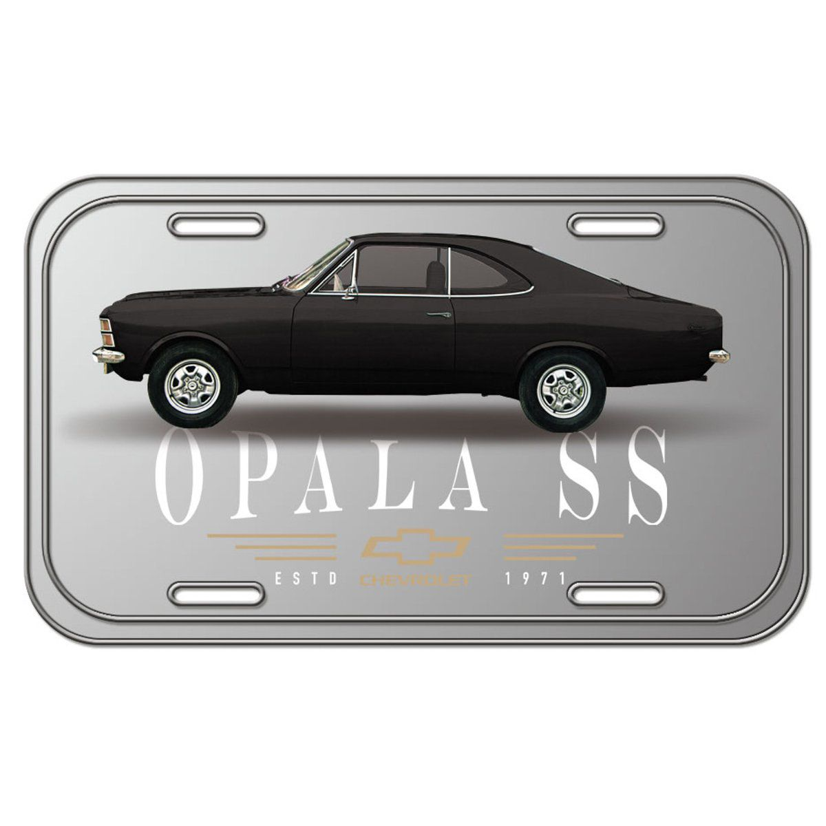 Placa De Carro Decorativa Opala 1971 SS (Preto/Cinza): GM