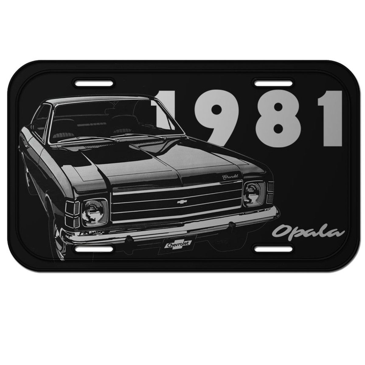Placa De Carro Decorativa Opala 1981 (Preto): GM