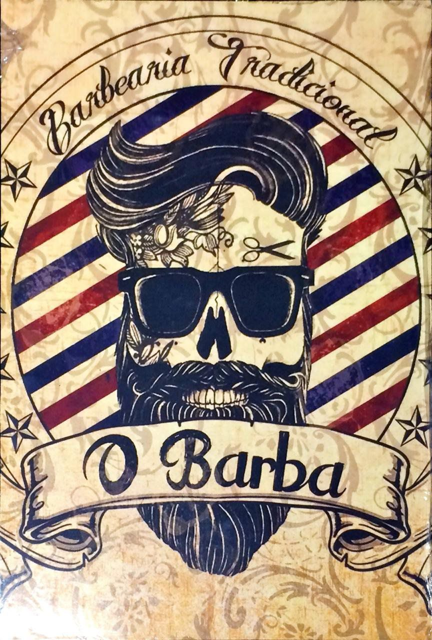 Placa Decorativa: Barbearia O Barba