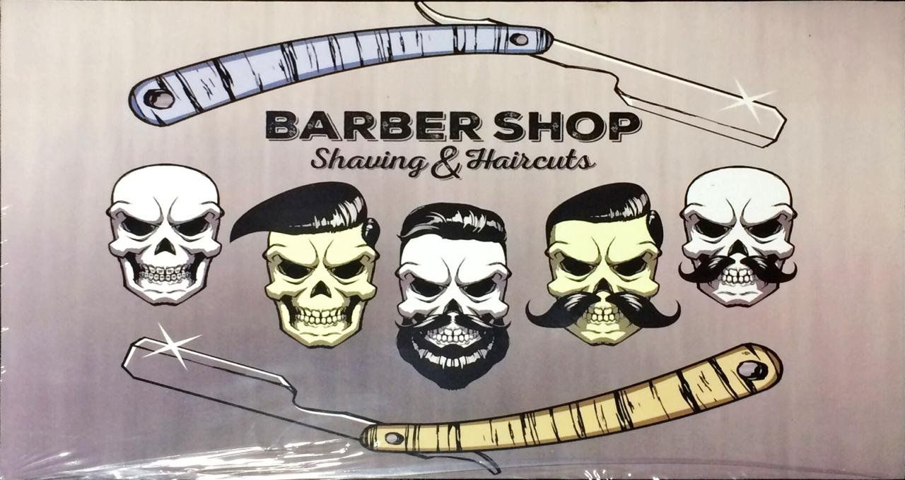 Placa Decorativa: Barber Shop Caveiras