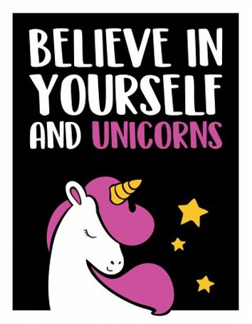 Placa Decorativa Believe In Yourself And Unicorns