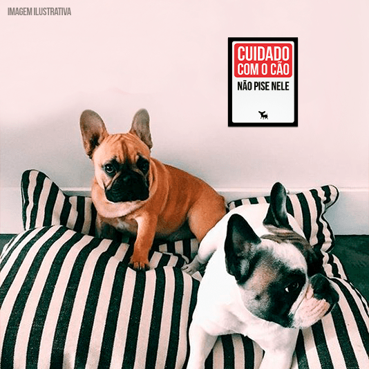 """Placa Decorativa: """"Cuidado com o cão não pise nele"""""""