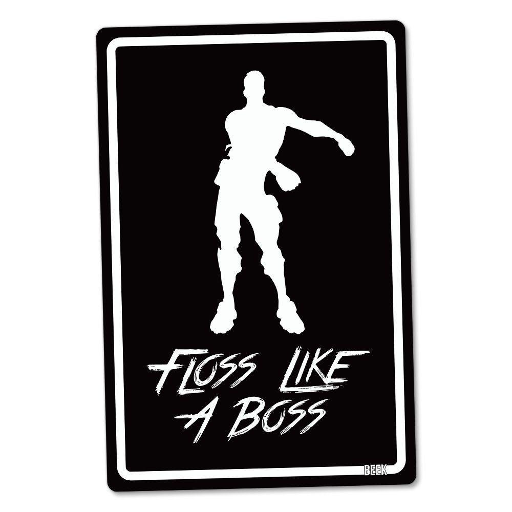 "Placa Decorativa ""Floss Like A Boss"": Fortnite (Preto)"