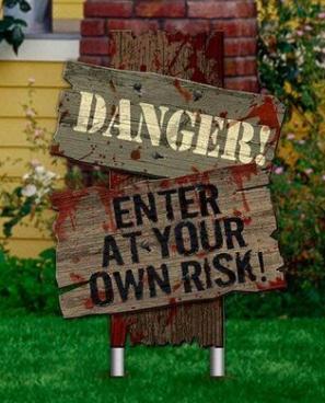 Placa Decorativa Halloween Terror Dia Das Bruxas Danger! Enter At Your Own Risk! - MKP