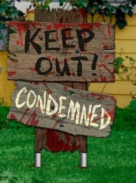 Placa Decorativa Halloween Terror Dia Das Bruxas Keep Out Condemmed - MKP
