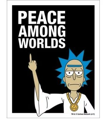 "Placa Decorativa ""Peace Among Worlds"": Rick And Morty"
