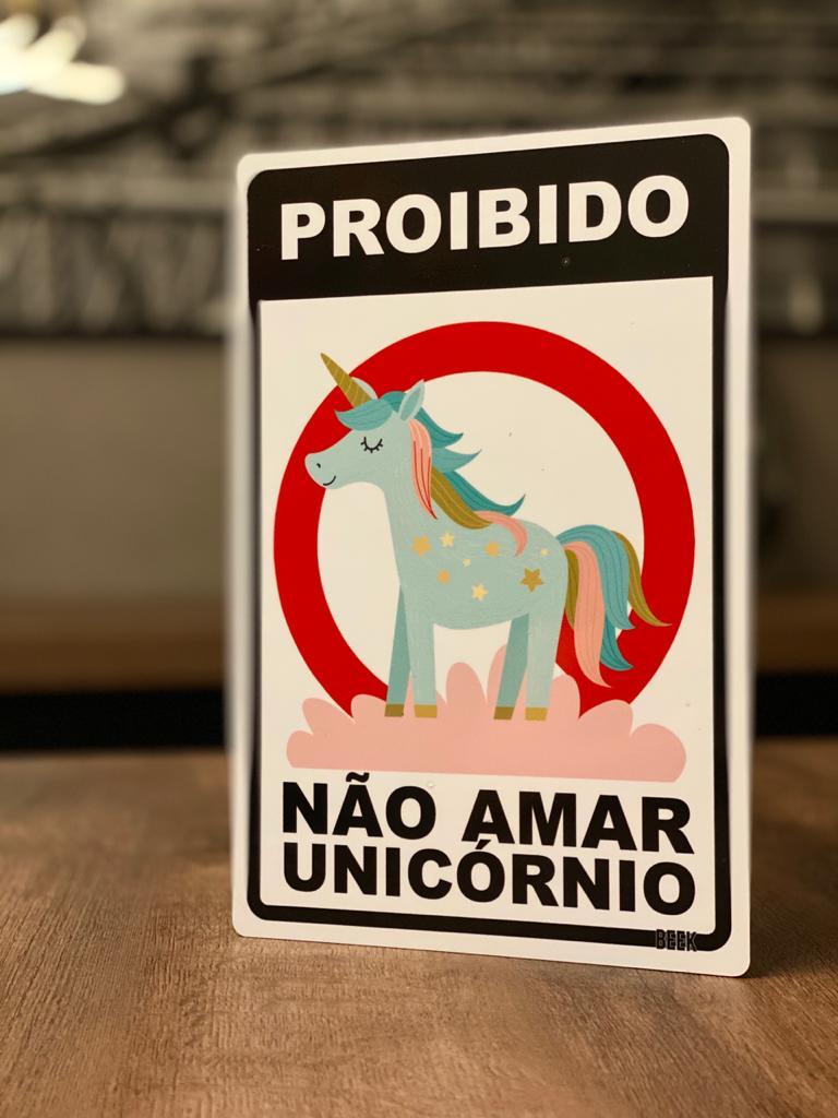 Placa Decorativa Proibido Não Amar Unicórnio
