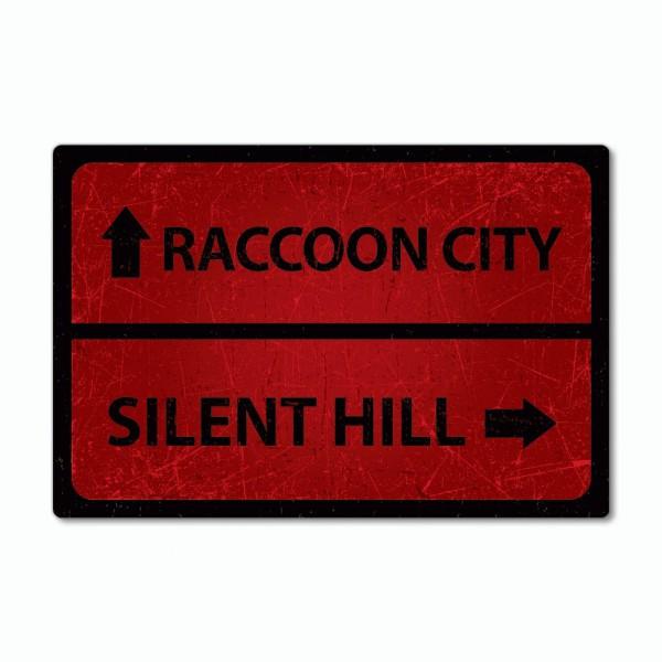 "Placa Decorativa: "" Raccoon City ou Silent Hill '' ( Resident Evil/Sillent Hill )"