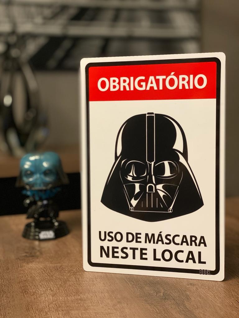 Placa Decorativa Use Máscara: Darth Vader (Star Wars)